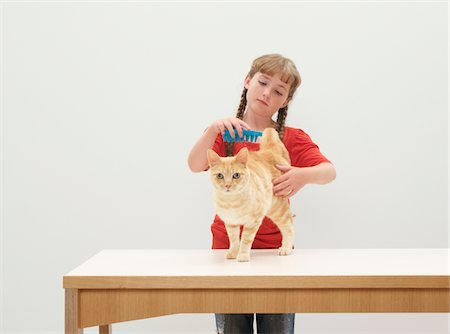 preteen girl pussy - Girl (9-11) grooming cat on table Stock Photo - Premium Royalty-Free, Code: 6106-05456583