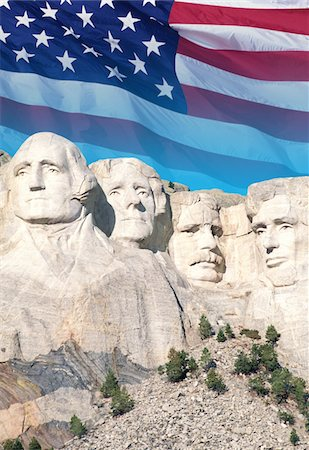 solid - USA, South Dakota, Mt. Rushmore National Monument and American flag Stock Photo - Premium Royalty-Free, Code: 6106-05461095