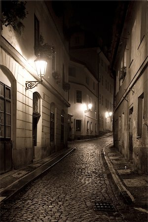 The streets of Mala Strana at night in Prague, Czech Republic, 2007.  Sepia Toned Image. Stock Photo - Premium Royalty-Free, Code: 6106-05486772