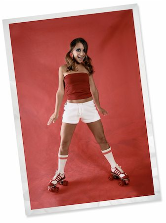 roller skate - A wrinkled and faded photograph of a 70's fashion model wearing roller skates. Stock Photo - Premium Royalty-Free, Code: 6106-05487022