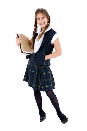 school girl uniforms - Girl with textbooks. Stock Photo - Premium Royalty-Free, Code: 6106-05488057