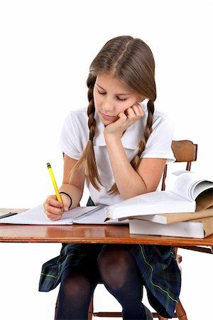 school girl uniforms - Girl at her desk. Stock Photo - Premium Royalty-Free, Code: 6106-05488064