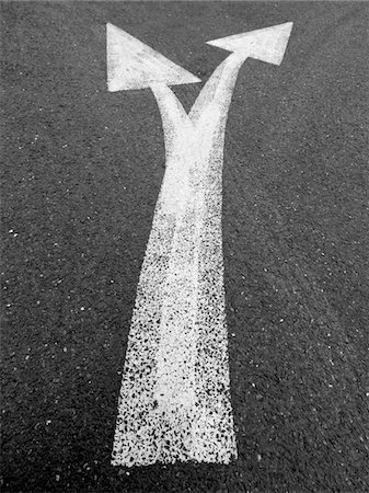 decision - Two arrows on asphalt in London. 2008 Stock Photo - Premium Royalty-Free, Code: 6106-05488920