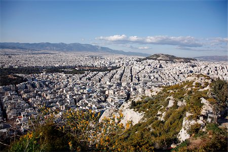View of the city of Athens from Lycabettus hill, the highest point in the city. Stock Photo - Premium Royalty-Free, Code: 6106-05489492