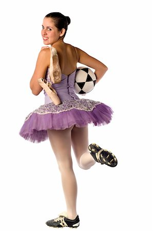 stocking feet - Image shows a ballerina and the contrast between the arts and sports: Ballet and Soccer Stock Photo - Premium Royalty-Free, Code: 6106-05491131