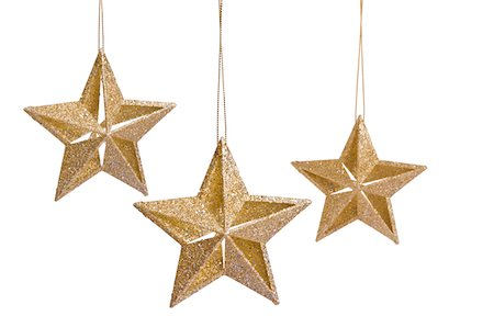 stars on white background - Golden Christmas Star Stock Photo - Premium Royalty-Free, Code: 6106-05494535
