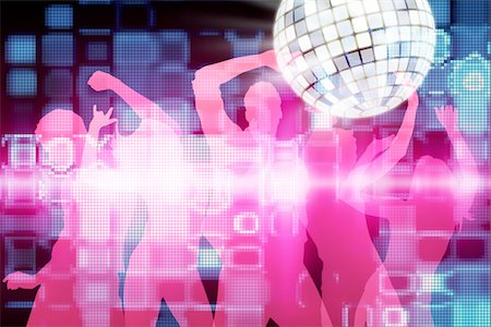Disco dancing people Stock Photo - Premium Royalty-Free, Code: 6106-05403127