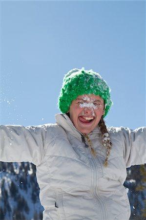 preteen girl licking - girl licking snow Stock Photo - Premium Royalty-Free, Code: 6106-05403837