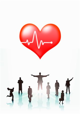 The people's silhouette and heart Stock Photo - Premium Royalty-Free, Code: 6106-05404251