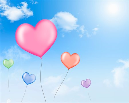 fly heart - The balloon of a heart type to pass in the sky Stock Photo - Premium Royalty-Free, Code: 6106-05404464