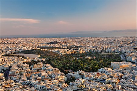 Elevated view of Athens at dusk Stock Photo - Premium Royalty-Free, Code: 6106-05406633