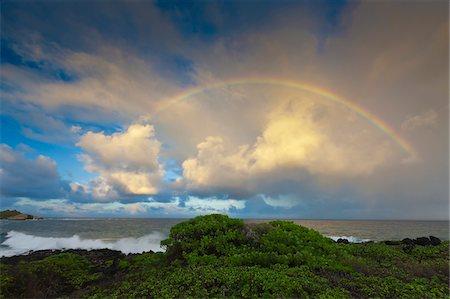 rainbow - Rainbow Over Shipwreck Beach Stock Photo - Premium Royalty-Free, Code: 6106-05406788