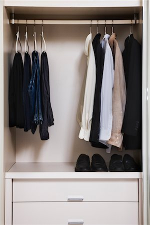 view of a tidy male wardrobe Stock Photo - Premium Royalty-Free, Code: 6106-05410370