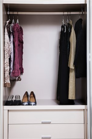 view of a tidy female wardrobe Stock Photo - Premium Royalty-Free, Code: 6106-05410372