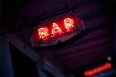 exterior bar - Neon Bar Sign Stock Photo - Premium Royalty-Free, Code: 6106-05410926