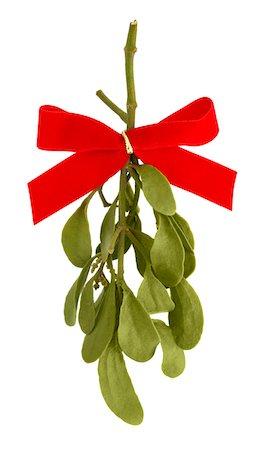 Mistletoe with Red Bow Ribbon on White Stock Photo - Premium Royalty-Free, Code: 6106-05417025