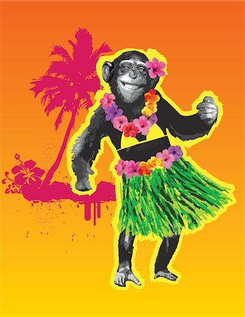 smiling chimpanzee - Chimpanzee hula dancing Stock Photo - Premium Royalty-Free, Code: 6106-05419602