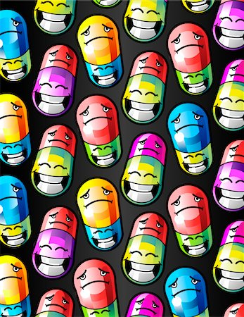 Pills with happy and sad faces on them Stock Photo - Premium Royalty-Free, Code: 6106-05420568