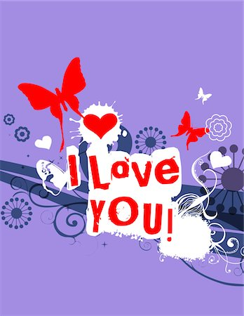 Hearts, butterflies and words 'I love you' Stock Photo - Premium Royalty-Free, Code: 6106-05420584