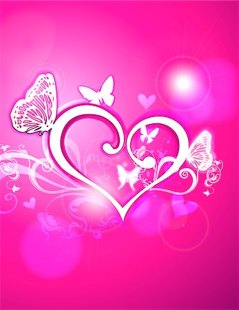 Hearts and butterflies Stock Photo - Premium Royalty-Free, Code: 6106-05420605