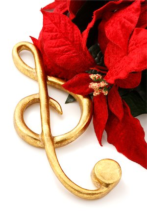 Treble Clef Music Ornament and Poinsettia Stock Photo - Premium Royalty-Free, Code: 6106-05421503
