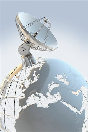 radio telescope - Radio telescope on top of a globe Stock Photo - Premium Royalty-Free, Code: 6106-05421883