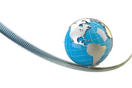globe with America balances on a wire rope Stock Photo - Premium Royalty-Free, Code: 6106-05421948