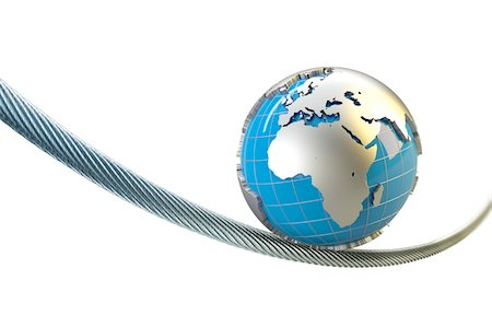 globe with Europe Africa balances on a wire rope Stock Photo - Premium Royalty-Free, Code: 6106-05421949
