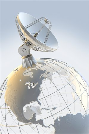 radio telescope - Radio telescope on top of a globe with Stock Photo - Premium Royalty-Free, Code: 6106-05421966