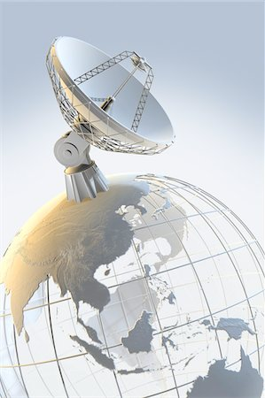 radio telescope - Radio telescope on top of a globe Stock Photo - Premium Royalty-Free, Code: 6106-05421974