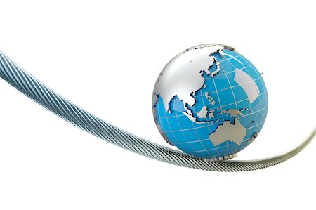 globe with Asia Australia balances on a wire rope Stock Photo - Premium Royalty-Free, Code: 6106-05421919