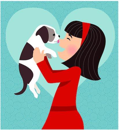 dog lick - Dog licking girl's face Stock Photo - Premium Royalty-Free, Code: 6106-05432675