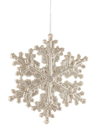 snowflakes  holiday - Silver Glitter Snowflake Holiday Ornament Stock Photo - Premium Royalty-Free, Code: 6106-05436156