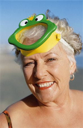 seniors woman in swimsuit - Portrait of a Senior Woman Wearing a Scuba Mask Stock Photo - Premium Royalty-Free, Code: 6106-05549102