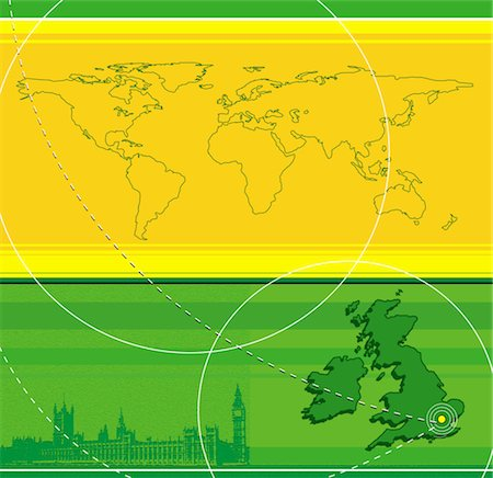 Map of Untited Kingdom and world map, on green and yellow background Stock Photo - Premium Royalty-Free, Code: 6106-05562844