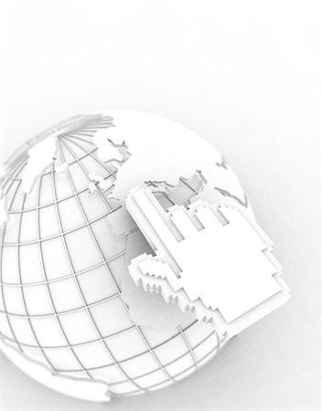 Hand cursor pointing at Europe on globe (Digital) Stock Photo - Premium Royalty-Free, Code: 6106-05569919