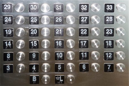 Numbered buttons with brail markings on elevator panel, full frame Stock Photo - Premium Royalty-Free, Code: 6106-05581909
