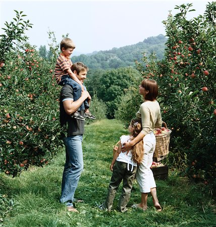 family apple orchard - Family Standing in an Orchard Stock Photo - Premium Royalty-Free, Code: 6106-05590474