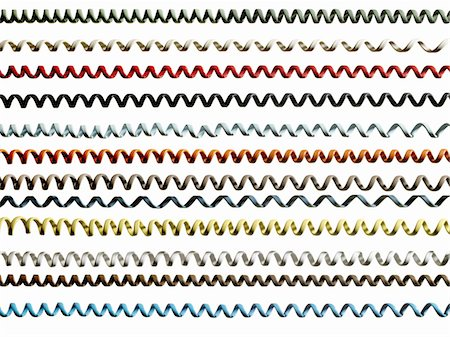 phone cord - Rows of coloured phone cords on white background (full frame) Stock Photo - Premium Royalty-Free, Code: 6106-05505431