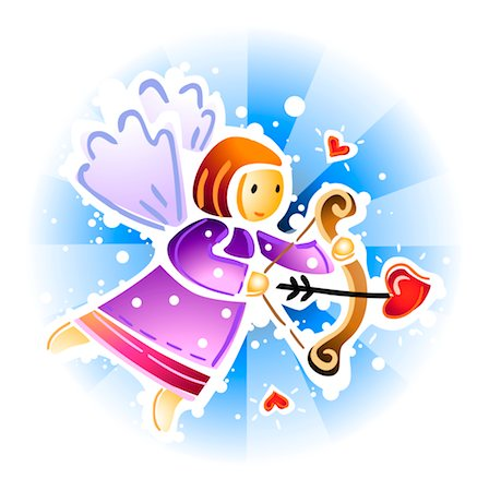 flying heart girl - Cupid archery with heart arrow Stock Photo - Premium Royalty-Free, Code: 6106-05509799