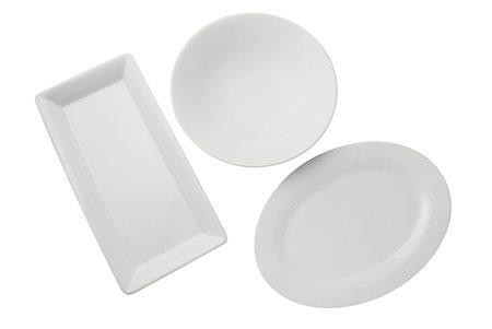 rectangle - Three platters on white background Stock Photo - Premium Royalty-Free, Code: 6106-05511762