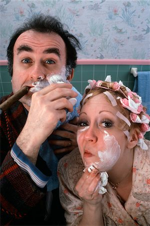 caucasian couple in bathroom Stock Photo - Premium Royalty-Free, Code: 6106-05525461