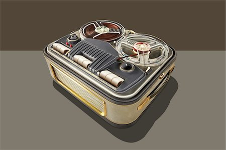 Vintage tape recorder with graphic shadow Stock Photo - Premium Royalty-Free, Code: 6106-05603131