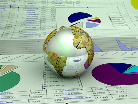 Globe and Pie Chart Stock Photo - Premium Royalty-Free, Code: 6106-05638273