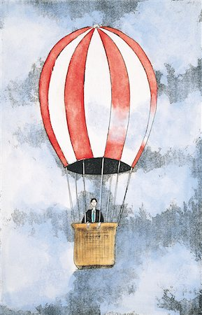 Businessman in a hot-air balloon Stock Photo - Premium Royalty-Free, Code: 6106-05639455