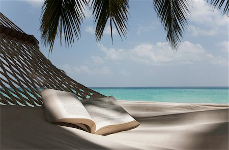 Book on a hammock under a palm Stock Photo - Premium Royalty-Free, Code: 6106-05758767