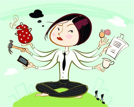 Woman juggling multiple tasks all at once Stock Photo - Premium Royalty-Free, Code: 6106-05788280