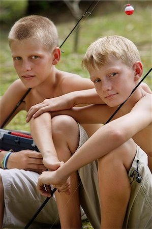 young boys with fishing gear Stock Photo - Premium Royalty-Free, Code: 6106-06310906