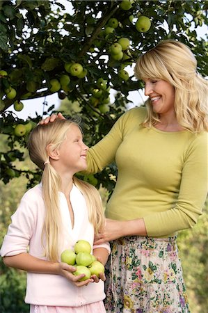 family apple orchard - mother and daughter under apple tree Stock Photo - Premium Royalty-Free, Code: 6106-06311299