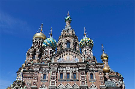 ornate domes of the Church on Spilled Blood Stock Photo - Premium Royalty-Free, Code: 6106-06335607